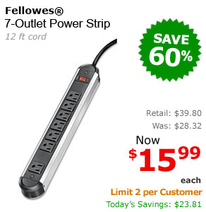 Fellowes 7-Outlet Power Strip 1 Each