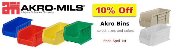 10% Off Akro Bins select sizes and colors