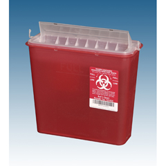 MEDPLA141020EA - Plasti-ProductsContainer, Sharps, 5 Qt, Red