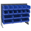 metal shelving units: Akro-Mils - Single-Sided Low Profile Louvered Floor Rack with Blue Bins