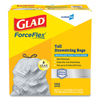 Waste Can Liners: Glad® Drawstring ForceFlex. Tall Kitchen Bags