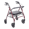 Drive Medical Heavy Duty Bariatric Red Rollator Walker w/Large Padded Seat 10215RD-1