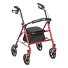 Drive Medical Four Wheel Rollator Walker w/Fold Up Removable Back Support 10257RD-1
