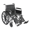Wheelchairs: Drive Medical - Chrome Sport Wheelchair w/Detachable Full Arms & Elevating Leg Rest