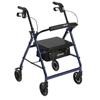 Drive Medical Blue Rollator Walker w/Fold Up & Removable Back Support & Padded Seat R726BL