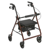 Drive Medical Red Rollator Walker w/Fold Up & Removable Back Support & Padded Seat R726RD