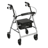 Drive Medical Silver Rollator Walker w/Fold Up & Removable Back Support & Padded Seat R726SL