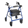 Drive Medical Blue Rollator Walker w/Fold Up Removable Back Support Padded Seat R728BL