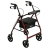 Drive Medical Red Rollator Walker w/Fold Up Removable Back Support Padded Seat R728RD