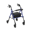 Drive Medical Adjustable Height Blue Rollator w/6 Wheels RTL10261BL