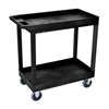 "Janitorial Carts, Trucks, and Utility Carts: Luxor - 2-Shelf High Capacity Tub Cart with Heavy Duty 5"" Casters"