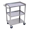 Janitorial Carts, Trucks, and Utility Carts: Luxor - Stainless Steel Utility 3-Shelf Cart
