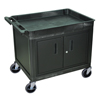 Janitorial Carts, Trucks, and Utility Carts: Luxor - 2-Shelf Tub Cart with Locking Cabinet