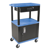 Luxor Multipurpose Utility Cart with Cabinet & Drawer LUX WT42BUC2E-B/WTD