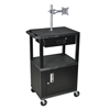 Luxor Multipurpose Utility Cart with Cabinet, Monitor Mount & Drawer LUX WT42C2ME-B/WTD
