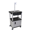 Luxor Multipurpose Utility Cart with Cabinet, Monitor Mount & Drawer LUX WT42C4ME-N/WTD