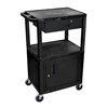 Luxor Multipurpose Utility Cart with Cabinet & Drawer LUX WT42C2E-B/WTD