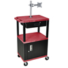 Luxor Multipurpose Utility Cart with Cabinet, Monitor Mount & Drawer LUX WT42RC2ME-BWTD