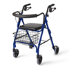 Samsonite-crutches-walkers: Medline - Guardian Rollator, Deluxe, Blue, 250 Lbs, Curved Back