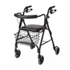 Walkers: Medline - Guardian Rollator, Deluxe, Black, 250 Lbs, Curved Back