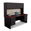 Marvel Group Pronto® 72 Double File Desk with Flipper Door Cabinet, 72W x 30D:Black/Black Cherry, Chalk MLG PRNT5-BK-F8563-BCDN