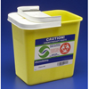 "Needles & Syringes: Kendall - Chemotherapy Sharps Container 1-Piece 10H"" X 10.5W"" X 7.25D"" 2 Gallon Yellow Base Hinged Lid"