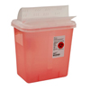 "Hazardous Waste Control: Kendall - Multi-purpose Sharps Container 1-Piece 10H"" X 10.5W"" X 7.25D"" 2 Gallon Translucent Base Horizontal Entry Lid"