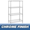 "wire shelving & steel shelving: Nexel Industries - Wire Shelving Starter Unit, 4 Shelves, L 24""x W 18""x H 86"""