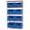 wire shelving: Quantum Storage Systems - Wire Shelving Unit with Giant Open Hopper Bins
