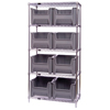 Shelving Units Steel Shelving: Quantum Storage Systems - Wire Shelving Unit with Giant Open Hopper Bins