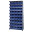 Quantum Storage Systems Wire Shelving Unit with Store-More Bins QNTWR9-201BL-EA
